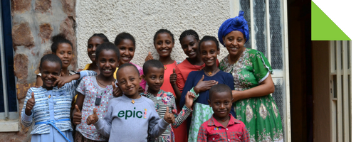 Young orphans now living at Yenege Tesfa's child sanctuary