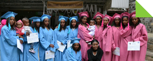 Ethiopian women graduated as hairdressers through Association for Women's Sanctuary & Development