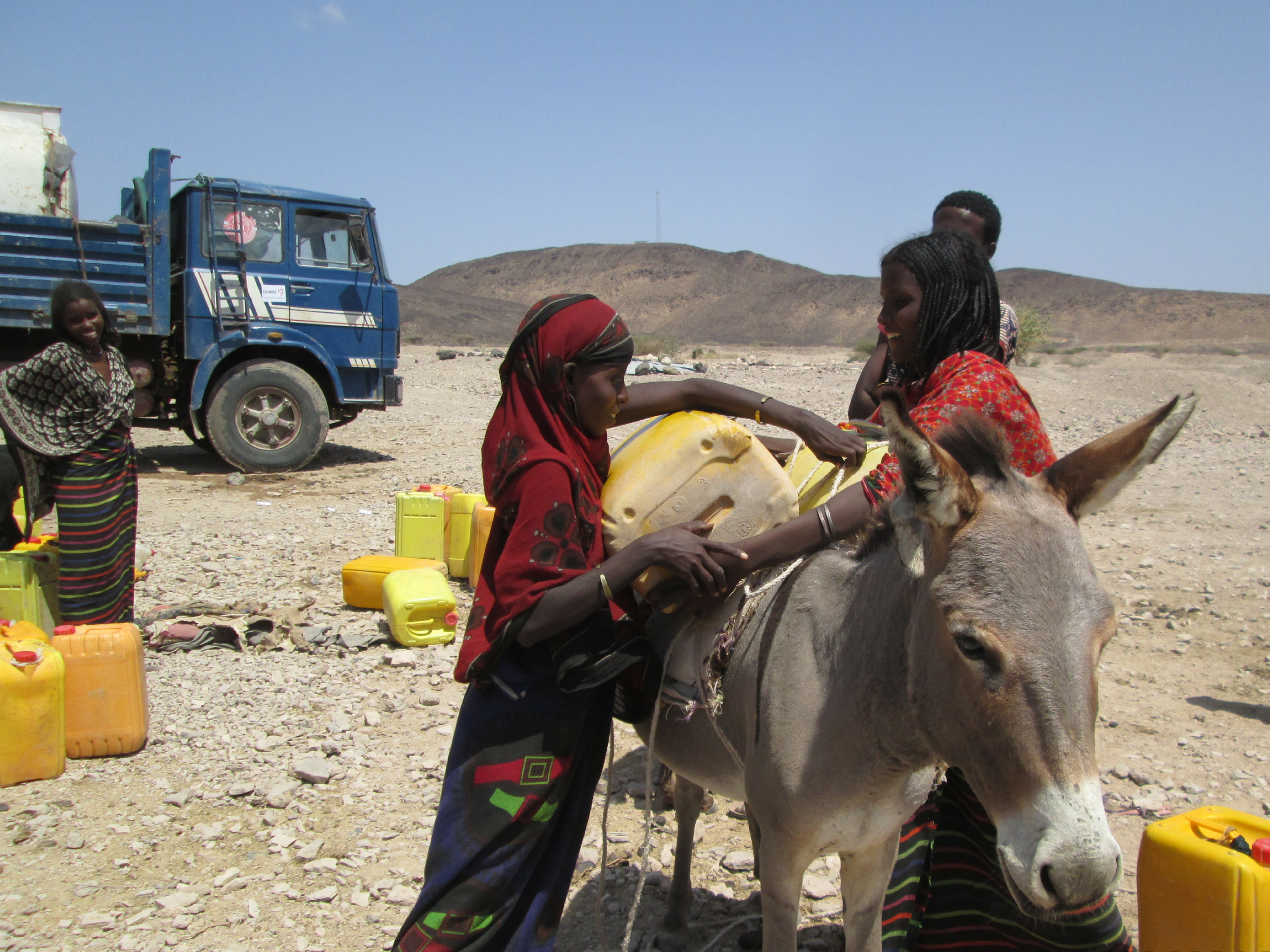 Emergency water trucking for drought relief Ethiopia