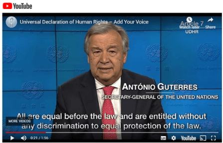 Link to #RightsOutLoud video by the UN