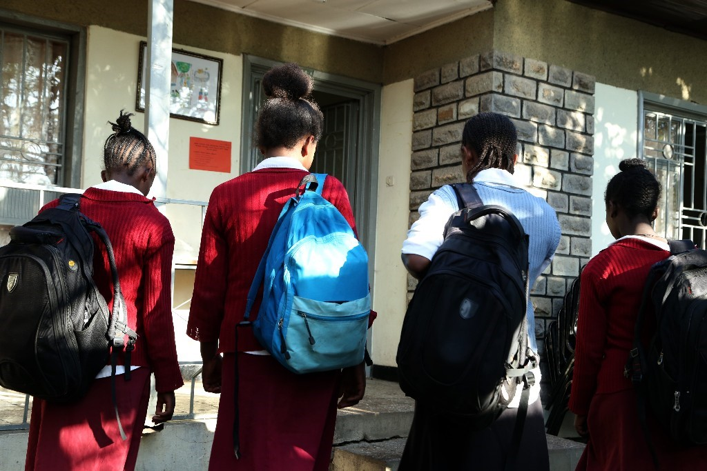Adolescent girls going to secondary school in Ethiopia