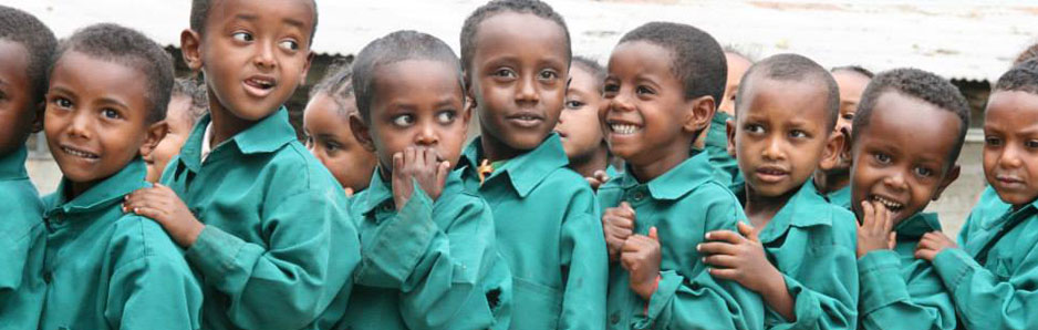 Group of young school children in Ethiopia